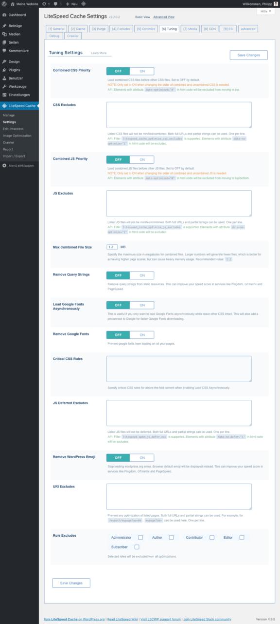 LiteSpeed Cache für WordPress - Tuning