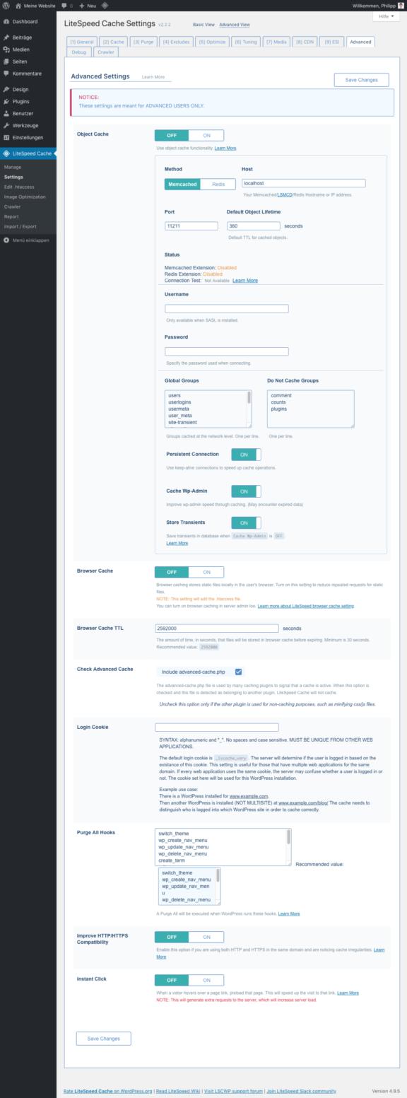 LiteSpeed Cache für WordPress - Advanced