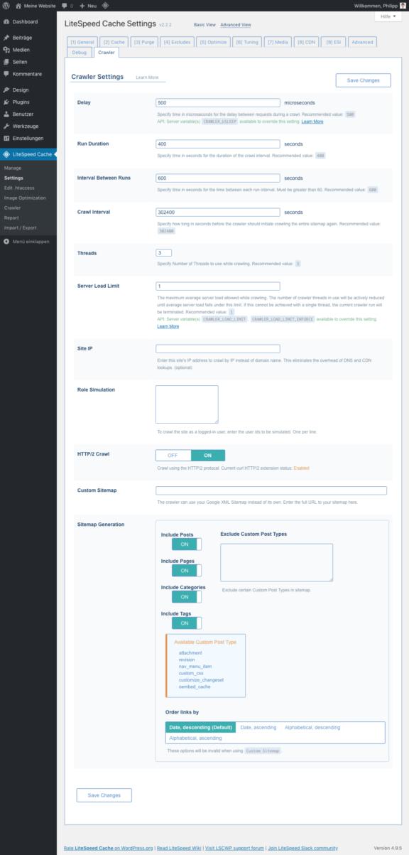 LiteSpeed Cache für WordPress - Crawler