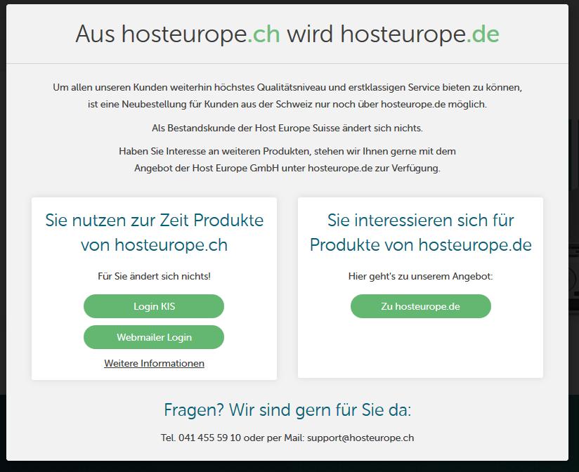 hosteurope aufgelöst