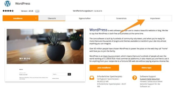 Externe WordPress-Installation importieren