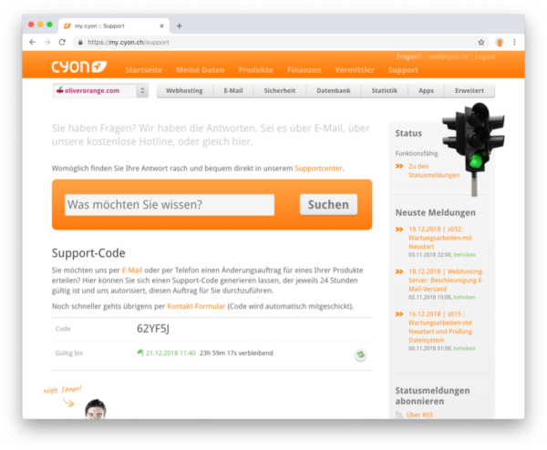 Neue my.cyon-Funktion «Support-Code»