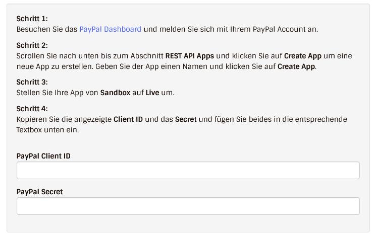 Anleitung PayPal mit Website Creator verbinden