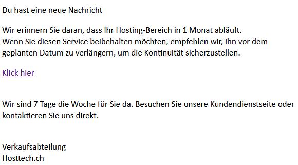 Screenshot eines Phishing-E-Mails im Namen von hosttech
