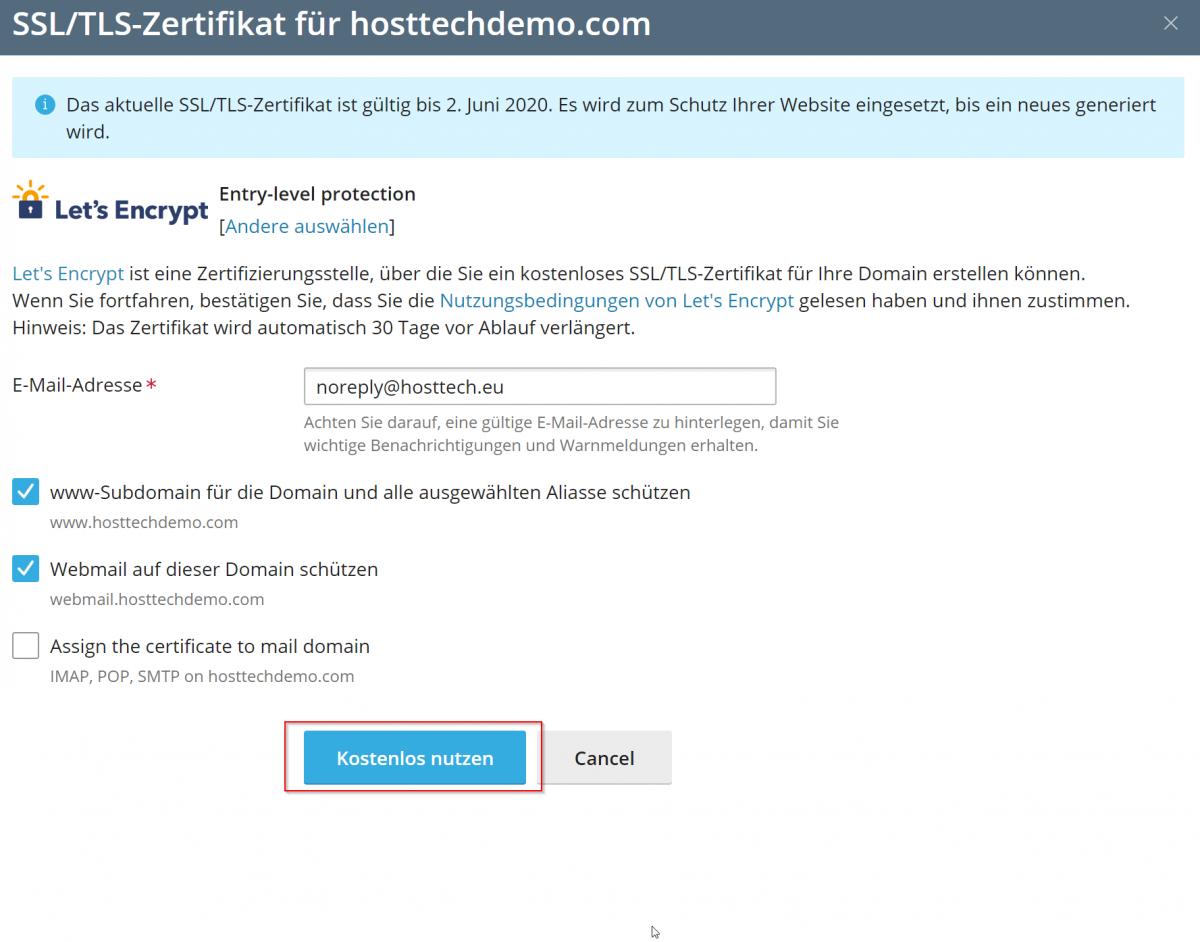 Die Nutzung von Let's Encrypt ist kostenlos.